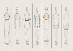 Fashion Sketchbook - womenswear collection lineup illustrations; fashion drawings; fashion design portfolio