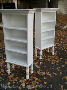 Repurposed Window Cupboards~ Last fall I made these two repurposed window cupboards. Here they are without their window doors. ~By Gail, My Repurposed Life