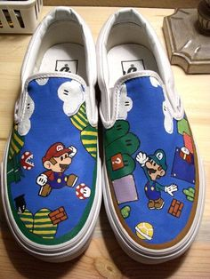 Handpainted Super Mario Bros Shoes (Reserved) - All About Painted Sneakers, Hand Painted Shoes, Pink Sneakers, Painted Vans, Blake Lively, Michelle Obama, Super Mario, Tennis Vans, Sharpie Shoes