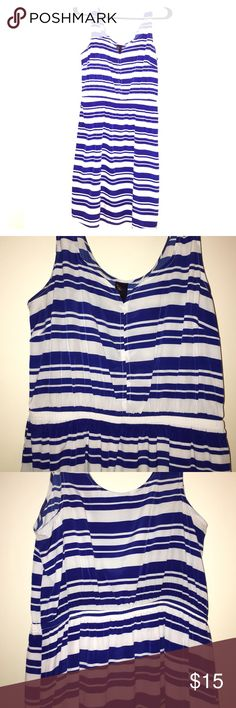 Striped dress Blue and white striped dress. Lined. Sleeveless. Elastic waist. Francesca's Collections Dresses Mini