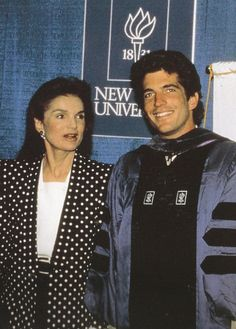At his New York University Law School graduation, Jackie Onassis prompted her son to say a few words to acknowledge the good wishes of the gathered press there.