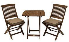 Small Patio Simplicity -  Outdoor Interiors Eucalyptus 3 Piece Square Bistro Outdoor Furniture Set.