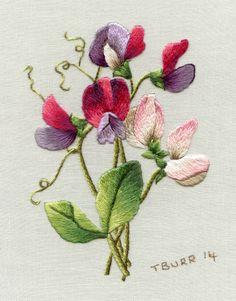 needle work spring flowers Trish Burr