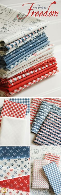 Freedom - Moda Fabrics Celebrate the land of the free and the home of the brave with the Freedom collection from Moda Fabrics. This patriotic fabric collection by Sweetwater is tasteful with reds, navies, and beiges in an assortment of patterns. Select one of the fabrics with text and pair it next to a stripe or geometric design.