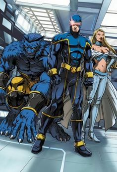 Beast, Cyclops, and Emma Frost of the X-Men