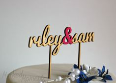 Custom Name Wedding Cake Topper SINGLE LINE- Wood Cake Topper personalized with your names laser cut