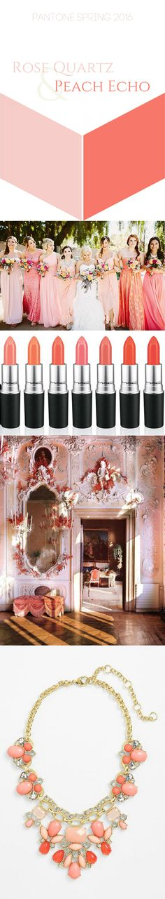 Pantone Peach Echo and Rose Quartz. Peach Echo Wedding. Rose Quartz wedding. Peach Echo interior. Coral lip color