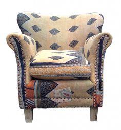 Bon C40 34 (2) Edward Club Chair In Vintage Indian Kantha Fabric