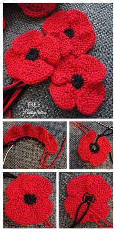 Knit Poppy Flower Free Knitting Patterns - Knitting Pattern Knitted Poppy Free Pattern, Knitted Flower Pattern, Knitted Poppies, Baby Cardigan Knitting Pattern Free, Beginner Knitting Patterns, Knitting Stiches, Knitted Flowers, Christmas Knitting Patterns, Free Knitting