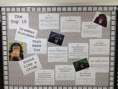 A bulletin board for high school grammar usage.
