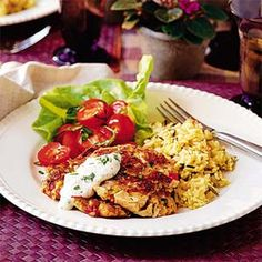 Chicken Cakes with Creole Sauce | MyRecipes.com #myplate #protein
