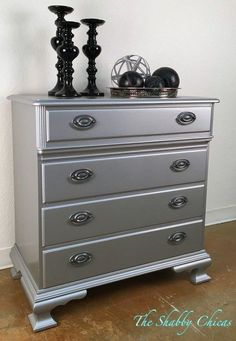 """We updated this chest using General Finishes Seagull Gray Milk Paint with Argentine Pearl Effects . All was sealed with General Finishes High Performance Top Coat Satin Sheen."" - The Shabby Chicas located at Homestead Handcrafts"