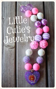 Sofia the First Chunky Necklace RTS by LittleCutiesJewelry on Etsy