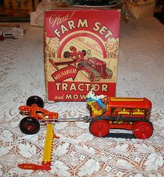 Louis Marx Farm Set Tractor and Mower Mechanical Windup Tin Toy