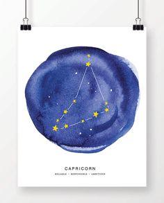 Watercolor Capricorn Constellation Art Print. Instant Download Printable Art, Digital Print. Great last minute gift!