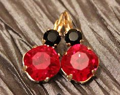 14K Gold ice drop earring,Red & Black Swarovski® crystals, Classic earrings,14K Gold plated, Real Swarovski Rhinestones, Valentines day.