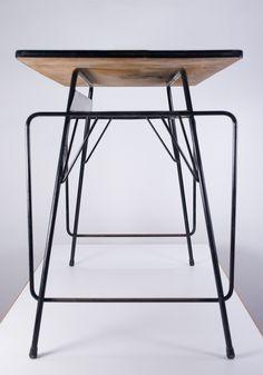 School desk by Willy Van Der Meeren for Tubax  School desk designed by renowned Belgian architect Willy Van Der Meeren, manufactured by Tubax in Vilvoorde. Top in formica, structure in black lacquered steel. Date of manufacture: 1953-1959.