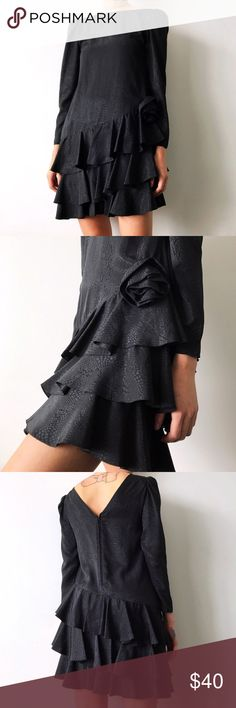 80s Ruffle Skirt Dress w/ Rose Detail Super freaking amazing vintage black satin dress with ruffle skirt and rose details from circa 1980s; marked as a size 6 which is about equivalent to a medium but would also look great on a size small; in perfect condition Vintage Dresses Long Sleeve