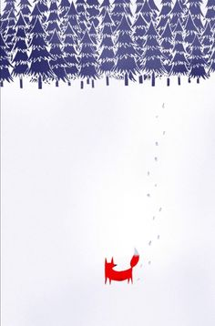 Alone in the forest Art Print by Robert Farkas. i like the footprints and the trees look like The Moomins illustrations Art And Illustration, Fuchs Illustration, Forest Poster, Forest Art, Snowy Forest, Art Mural, Art Graphique, Mail Art, Illustrators
