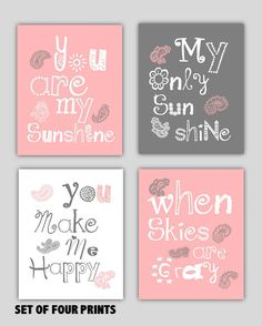 You are my sunshine Pink gray and White Paisley Art by Little Pergola Art, $49.00