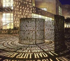 University of Houston, TX, United States. Made from copper, text, light, black granite paving inlay, by Jim Sanborn, 2004.