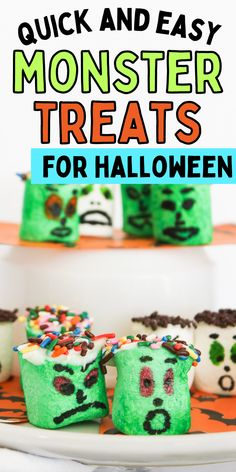 How to make Halloween treats. Easy Monster snack for kids. Fun DIY Halloween treat. Monster Snacks, Diy Halloween Treats, Almond Bark, Kids Fun, Fun Diy, Marshmallow, Sprinkles, Easy, Food