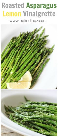 Roasted Asparagus with a lemon vinaigrette. My favorite way to eat asparagus! Easy and bursting with flavor!