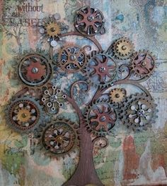 Steampunk tree art - love this! Also pinned to Steampunk Metal Projects, Welding Projects, Metal Crafts, Welding Ideas, Outdoor Projects, Metal Tree Wall Art, Scrap Metal Art, Metal Yard Art, Metal Artwork