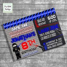 Laser Tag Birthday party invitation kids laser by myooakboutique etsy store