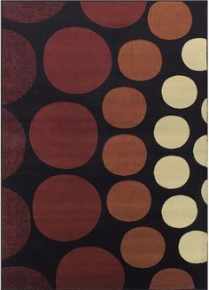 A subtle and nicely textured rug in a deep raspberry and smooth chocolate color palette -- Carlisle Circles Black Rug   cort.com