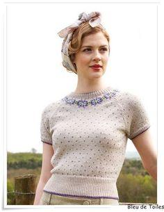 bleudetoiles' photo on Flickr of Debbie Bliss' Fairisle Yoke Sweater (Land Girl book).