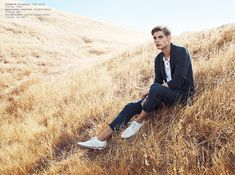 AG Jeans Spring/Summer 2014 Campaign–French model Baptiste Radufe poses in a pleasant open field for the spring/summer 2014 campaign of denim label AG Jeans. Portrait Photography Men, Photography Poses For Men, Outdoor Photography, Male Models Poses, Male Poses, Men Photoshoot, Guy Pictures, Photo Poses, Portraits