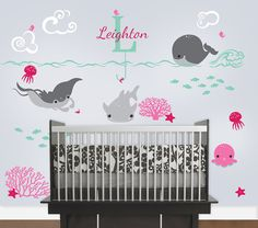 Ocean Friends Decal, Under the Sea Nursery with Monogram Custom Name Vinyl Decal, Wall Decal for a Nautical Nursery, Kids or Childrens Room