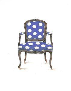 Cobalt Blue and White Polka Dot Chair Illustration Art Print 8x10
