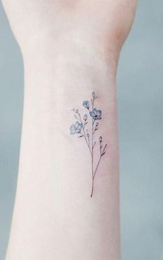 Wildflower Blue Watercolor Wrist Tattoo Ideas for Women - Ideas de tatuaje . tattoos- Wildflower Blue Aquarell Handgelenk Tattoo-Ideen für Frauen – Ideen de tatuaje … Wildflower Blue Watercolor Wrist Tattoo Ideas for … - Mini Tattoos, Small Tattoos, Tattoos For Guys, Tattoos For Women, Cool Tattoos, Awesome Tattoos, Woman Tattoos, Tattoo Women, Tatoos