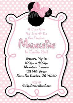 HUGE SELECTION Minnie Mouse Invitation - Pink Minnie Christmas Birthday Minnie Mouse Invitations - The Print Shoppe