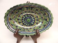 Talavera Folk Art Mexican Pottery Bowl Dish