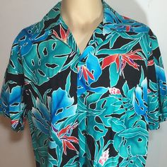 Men's Hilo Hattie Hawaiian Floral Birds Of Paradise Shirt Large Camp Vintage #HiloHattie #Hawaiian