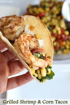 Grilled Shrimp & Corn Tacos Recipe - even the taco shells are made on the grill. #grilling #shrimp #corn #tacos #healthyrecipes