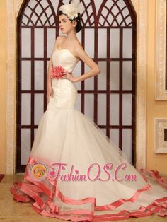 Watermelon Red Hand Made Flower Belt Mermaid Sweetheart Wedding Dress With Chapel Train- $225.67http://www.fashionos.com  http://www.facebook.com/quinceaneradress.fashionos.us  This dramatic wedding gown is sure to turn heads! The whole ruched bodice has a sweetheart neckline. The floor-length skirt hugs your hips and flares out from the knees in a special mermaid style.