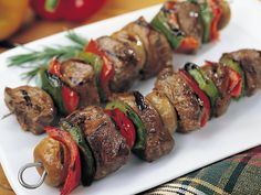 Oven Grilled Kabobs with Maytag Bleu Cheese Dipping Sauce