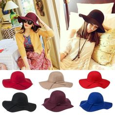 Womens Stylish Vintage Wool Floppy Wide Large Brimmed Hat Beach Sun Floppy Cap