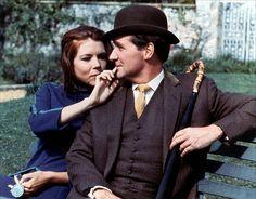 "Emma Peel and John Steed, ""The Avengers."""
