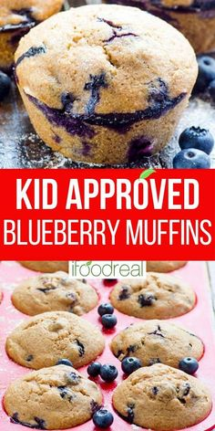 Healthy Blueberry Muffins with applesauce, whole wheat flour, no sugar, and fresh or frozen blueberries. Super easy kid approved recipe with fantastic reviews! Healthy Blueberry Muffins, Healthy Muffin Recipes, Blue Berry Muffins, Healthy Baking, Healthy Desserts, Baking Recipes, Snack Recipes, Healthy Family Meals, Frozen Blueberries