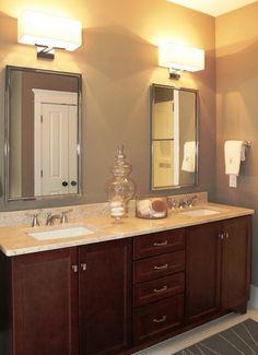 perlato marble counter on dark wood cabinets Traditional Bathroom, Dark Wood Cabinets, Lighting Collections, Lighting Fixtures, Traditional Lighting, Bathroom Mirror, Framed Bathroom Mirror, Wall Sconce Lighting, Outdoor Light Fixtures