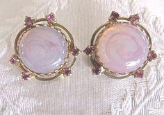 Kramer of NY Earrings Clip Pink Faux Opal by VintageVogueTreasure