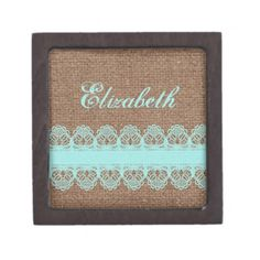 Turquoise Lace on Burlap - Shabby Chic Monogram Premium Jewelry Boxes