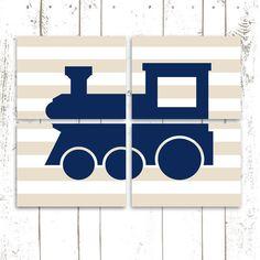 Nursery Art, Train Prints, Set of Four 8x10 Inch Prints, Navy Blue Nursery Decor, Train Art on Etsy, $50.00