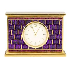 BULGARI Yellow Gold, Amethyst and Ruby Desk Clock | From a unique collection of vintage pocket watches at http://www.1stdibs.com/jewelry/watches/pocket-watches/