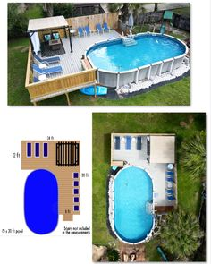 Above Ground Pool Landscaping, Above Ground Pool Decks, Backyard Pool Landscaping, Backyard Pool Designs, Above Ground Swimming Pools, Rectangle Above Ground Pool, Pool Hacks, Pool Deck Plans, Pool And Deck Ideas